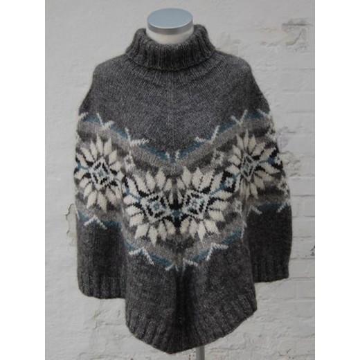 Poncho Sweater med stjerner Håndværksgarn-31