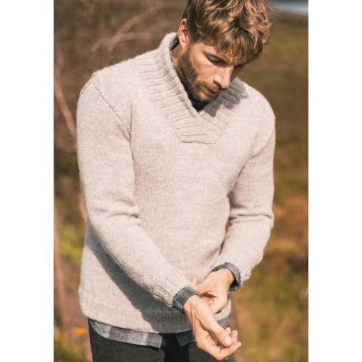 Herresweater med sjalskrave
