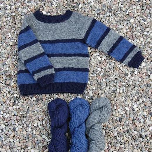 Stribet Børne sweater Håndværksgarn-31