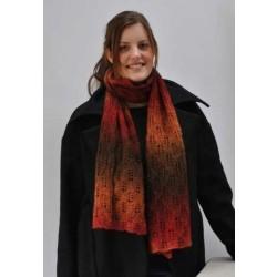Tørklæde med bladmønster strikket