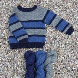 Stribet Børne sweater Håndværksgarn-20