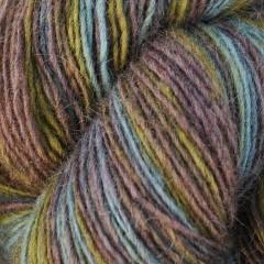 1 trådet farveskifte garn - Hjelholt-petrol/æblegrøn/mørk beige