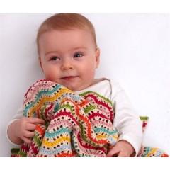 Hæklet zigzag Babytæppe - Pima Bomuld