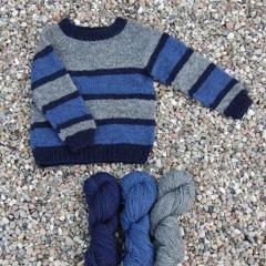 Stribet Børne sweater - Håndværksgarn